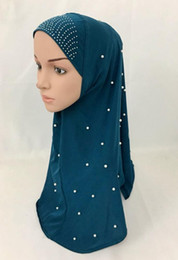 (12 pièces / lot) Nouveau design perles strass hijab musulman et un foulard islamique écharpe peut choisir les couleurs ML120 en Solde