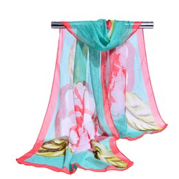 Chinese  2018 new chiffon georgette silk scarf women Bohemia long shawls Spring and Autumn Big Flower scarves and wraps sunscreen cape 10 Color manufacturers