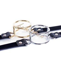 $enCountryForm.capitalKeyWord UK - Metal Double Loop Mouth Open Gag Blow Job Strap Adjustable Lockable Belt Slave Training BDSM Bondage Gear