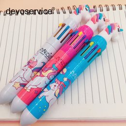 $enCountryForm.capitalKeyWord Australia - Cute Ballpoint Pen 10 Colors Ink Kawaii Creative Pens For Writing Office Stationery School Supplies Gift Colorful Pen For Kids
