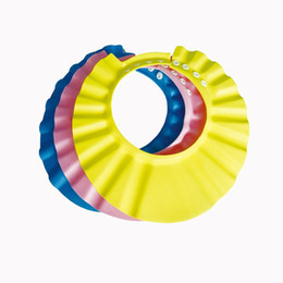 China 1pcs EVA Plastic Solid Resizable Bath Shower Hair Wash Baby Shampoo Cap Hat With Ear Bathing Protect Cap For Kids Baby cheap hat eva suppliers