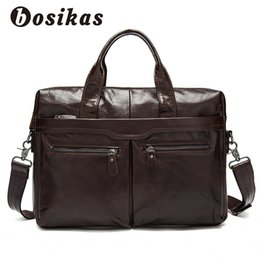 gray handbags NZ - BOSIKAS Genuine Leather men's bags Men Briefcase Crossbody Bags Messenger Bag Men's Shoulder Bag Fashion Handbag Skin Naturally