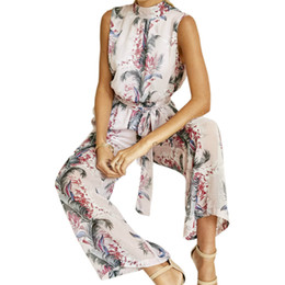 Jumpsuit Wide Legged Chiffon NZ - Sexy Backless Halter Femme Chiffon Jumpsuit Women Long Wide Leg Pants Boho Sleeveless Jumpsuits 2018 Floral Printed Romper GV479