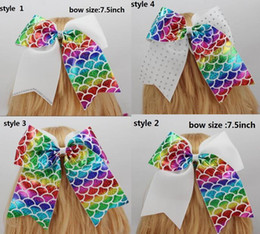 "hair bow bling accessories Australia - 8 STYLE ! MERMAID FOIL JOJO Cheer Bows With Ponytail For TEENS Girls Rhinestone Bling 7.5""Hair Bows Cheer leading Hair Accessories 10PCS"