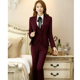 $enCountryForm.capitalKeyWord Australia - Custom fashion new women's women's wine red slim suit two-piece (jacket + pants) women's business formal suit