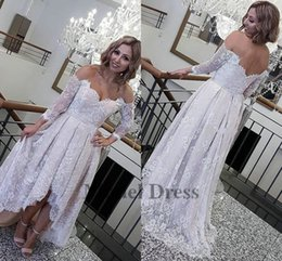 Off shOulder asymmetrical evening dress online shopping - Lace High Low Prom Dresses Short Front Long Back Off The Shoulder Tops Ruched Arabic Style Evening Gowns Custom Made Formal Dress Elegant