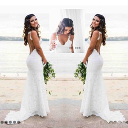 backless fishtail lace wedding dresses NZ - Mermaid Beach Lace Wedding Dresses Katie May Modest Spaghetti Backless Country Bohemian Bridal Gowns Custom Fishtail Bridal Holiday Dress