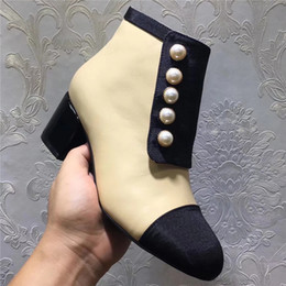 af34096b31ac46 2018 Fashion Designer Women Pearl Button Ankle Short Boots Patchwork  Genuine Leather Chunky Shoes Autumn Winter Female Booties Shoes Brand black  booties ...