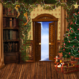 Discount bookshelf backdrop - Indoor Christmas Tree Photo Backdrop Wood Floor Printed Toy Bear Vintage Bookshelf Outside Winter Scenic Photography Bac