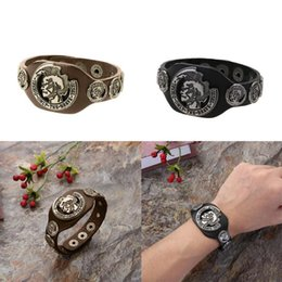 Wholesale Punk Genuine Leather Bracelet Men Vintage Wide Cuff Bangles Adjustable Buckle Wristband Male Jewelry Black Brown