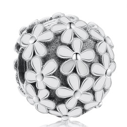 925 locking charms UK - Daisy Flower Clip Charms Bead Authentic 925 Sterling-Silver-Jewelry Stopper Lock Beads DIY Brand Logo Bracelets Accessories HB412