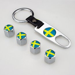 chain wrenches Australia - Sweden Flag Leather Buckle Valve Cap Wheel Tyre Tire Valve Dust Stems Air Caps Cover + Wrench Key Chain 248 Color available Swedish flag