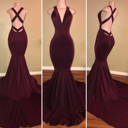 $enCountryForm.capitalKeyWord NZ - Burgundy Velvet 2018 Prom Dress 2K18 African Arabic Women Long Celebrity Formal Gowns V Neck Criss Cross Straps Sexy Mermaid Evening Dresses