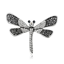 wholesale rhinestone brooches Australia - Retro Silver Plates Dragonfly Lapel Pin Corsage Sparkly Crystal Rhinestone Brooch Women Girl Party Prom Jewelry Dress Accessory