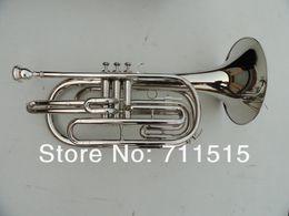 Ingrosso Corno dello strumento musicale d'ottone d'ottone di Corno di Baritono di marcia placcato argento del corno con la cassa di nylon del boccaglio Trasporto libero