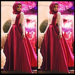 $enCountryForm.capitalKeyWord Australia - White Red Muslim Prom Dresses 2018 Fashion Long Sleeves Hijab Evening Gowns Lace Satin Floor Length Plus Size Saudi Arabic Party Dresses