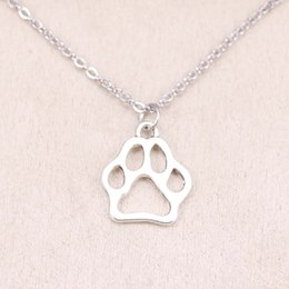 $enCountryForm.capitalKeyWord Canada - New fashion dog bear paw 19*17mm Antique Silver Pendant Girl Short Long Chain Necklaces Jewelry for women