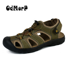$enCountryForm.capitalKeyWord Australia - ODMORP Men Sandals Genuine Leather Summer Shoes Men Slippers Quality Casual Beach Shoes Nonslip Sandalias Big Size 47 Sandal