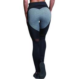 Wholesale Fashion Clothing Mesh UK - Hayoha Fashion Heart Paern Mesh Splice Leggings Athleisure Fitness Clothing Elastic Leggings Women Pants