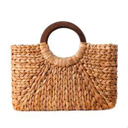 bed209b082684 Frauen Vintage Rattan Handtasche Weiblichen Böhmischen Sommer Strand Stroh  Taschen Dame Einfache Weben Tasche Handgemachte Beiläufige Große Tote SS3032