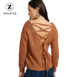 af47939f9bc250 ZAN.STYLE Sexy sweater with open back V neck Lace up Knitted women sweaters  and pullovers Full sleeve Batwing Sleeve sweaters Y18102002