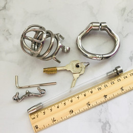 males plugged chastity NZ - 60MM Cock Cage With Urethral Catheter Spike Stainless Steel Male Chastity Devices Penis Lock Cock Ring Urethral Plug Sex Toy