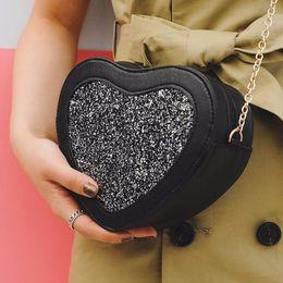 Heart Shaped Handbags Wholesale NZ - 2017 New Bling Bag in the Shape of Heart Leather Women's Messenger Bag Girls Crossbody Scaly Cute Designer Handbag Bolsas