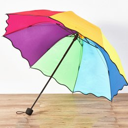 new apollo 2019 - New Fashion Transparent Clear Umbrella Rainbow Fold Apollo Princess Women Rain Umbrella Sakura Long Handle Umbrellas che