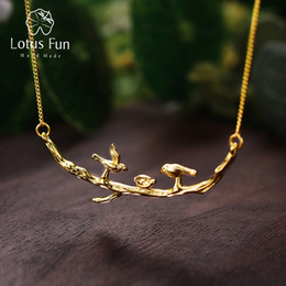 Fun Pendant Australia - Lotus Fun Real 925 Sterling Silver Handmade Designer Fine Jewelry Cute Bird on Branches Necklace with Pendant for Women Collier Y18102910