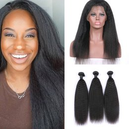 Discount unprocessed virgin kinky straight hair - Virgin Brazilian Kinky Straight Hair 360 Lace Frontal Closure With 3 Bundles Unprocessed Human Hair Extensions