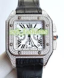 $enCountryForm.capitalKeyWord Australia - World Famous Fashion Men's Watch Silver Diamond Case Luxury Popular Watches Black Leather Waterproof Watch VK Quartz Chronograph Watch