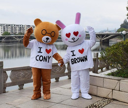 pink bear mascot costume 2019 - Rabbit brown bear cartoon costume proposal props walking doll's doll costume to be customized mascot. cheap pink be