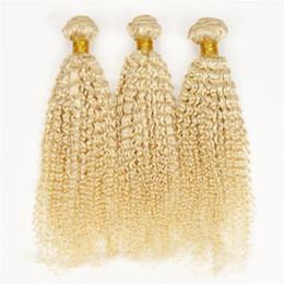 Tight Curls Hair Australia - Blonde Peruvian Kinky Curly Hair Extensions 8A 100% Human Hair Weave Tight Kinky Curly Hair 3pcs Jerry Curl #613 Blonde Bundles