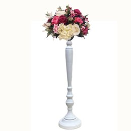 Flower candle holders wholesale online shopping - Golden White Flower Vase Candle Holders Wedding Table Road Lead Event Party Centerpiece Rack Home Decoration