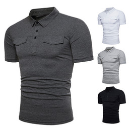 Wholesale mens slim fit casual t shirts for sale – dress Mens Solid Shirt Slim Fit Short Sleeve Summer Casual Basic T Shirt Colors Shirts with Pockets