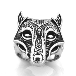 punk rings UK - FANSSTEEL STAINLESS STEEL punk vintage mens or womens JEWELRY ANIMAL WOLF RING BIKER RING GIFT FOR BROTHERS SISTERS FSR14W74
