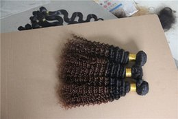 6a Kinky Curly Hair Weave NZ - T1B 4 Two kinds of color Brazilian kinky Curly Hair Extensions 100% Human Hair Weaev 6a Unprocessed Double Weft Hair Weaving 10-30 Inchs