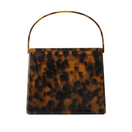 Leopard Print Clutch Bags Canada - Caker Brand 2018 Women Acrylic handbags Fashion Colorful Leopard print Square Day Clutch day Bags