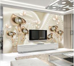 Custom Papel De Parede 3d,calla Flower And Butterfly Murals For Living Room  Bedroom Dining Room Tv Backdrop Wall Decor Wallpaper Dining Room Wall Murals  ...