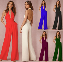 Wholesale jumpsuits for women resale online – hot sale Women sexy Jumpsuits Prom Dress Wedding Gust Dresses Chiffon V Neck Sleeveless Tops And Long Pants Rompers For Women