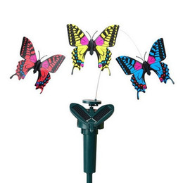 flying butterfly toy wholesale NZ - Solar Rotating Flying Simulation Butterfly Fluttering Vibration Hummingbird Flying Garden Yard Decoration Funny Toys C4370