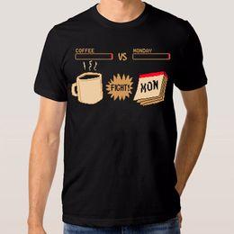6b6dde586 Coffee Vs Monday Fight Funny T-Shirt Men's Women's New Cotton Tee T Shirt  Men's Hip Hop Custom Short Sleeve 3XL Couple Camiseta