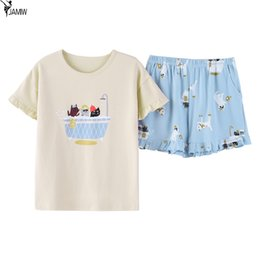 New pajamas women short-sleeved shorts knit cotton summer casual cartoon  Korean ladies home clothing 85f7fdf58