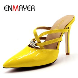$enCountryForm.capitalKeyWord Australia - ENMAYER Crystal Charms White Shoes Woman Supper High Heels Pointed Toe Plus Size 34-47 Outside Slippers Slides Summer Sandals