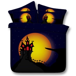 $enCountryForm.capitalKeyWord NZ - 3D halloween galaxy bedding sets queen yellow Moon Castle duvet cover single twin king cal king size bedspreads for adults women ladies