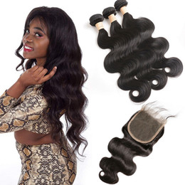human hair 5x5 lace closure Australia - Brazilian Unprocessed 9A Human Hair Bundles With 5X5 Lace Closure Body Wave 4 Pieces lot Virgin Hair Extensions With 5 By 5 Closure