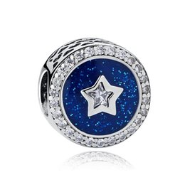 Blue Christmas Gifts Australia - Christmas Gifts Authentic 925 Sterling Silver Jewelry Royal Blue Sky With Clear CZ Star Beads Fits Brand Bracelet DIY Jewelry Making