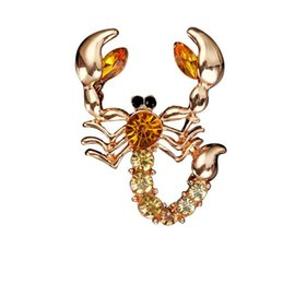 Trendy Wedding Gifts Canada - Women Men Unisex Trendy Crystal Rhinestones Scorpion Brooch Pin Jewelry Accessories for wedding birthday party gift