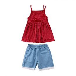 c67f9961f90 Toddler Kids Baby Girls Velvet Tank Dress Short Lace Pants Clothes Set Summer  Sundress Candy Color Solid Simple Cute Sweet Dress