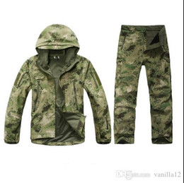 China Wholesale-TAD Stalker Shark Skin Camouflage Hunting Jackets Fishing Waterproof SoftShell Outdoor Jacket Set Sport Army Clothes S6 cheap hunting camouflage jacket suppliers